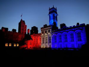 Carlton towers lit in red white and blue